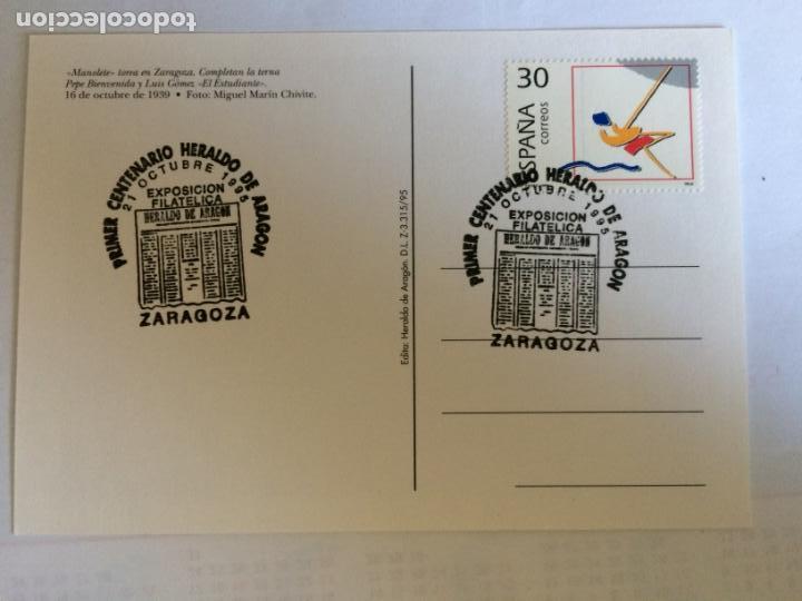 Sellos: Sobre Primer Centenario Heraldo de Aragon y 4 Postales del tema. 21 0ct 1995 - Foto 5 - 166377702