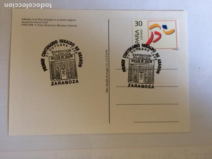 Sellos: Sobre Primer Centenario Heraldo de Aragon y 4 Postales del tema. 21 0ct 1995 - Foto 7 - 166377702