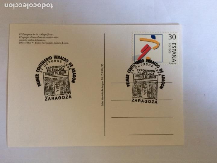 Sellos: Sobre Primer Centenario Heraldo de Aragon y 4 Postales del tema. 21 0ct 1995 - Foto 9 - 166377702