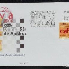 Briefmarken - 2004. Sobre. SPD. Olimpíada del ajedrez celebrada en Calvià. Sello alusivo. Matasello tablero. Nuevo - 167555268
