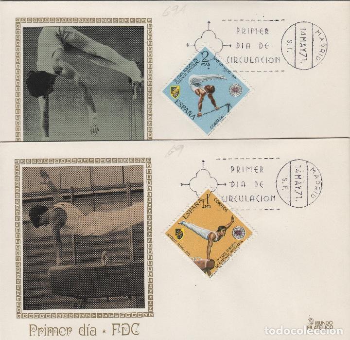 1971 ED 2034/5 IX CAMPEONATO GIMNASIA MASCULINA . SOBRE(2) PRIMER DIA , MUNDO FILATÉLICO (Sellos - Historia Postal - Sello Español - Sobres Primer Día y Matasellos Especiales)