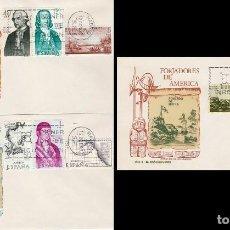 Sellos: EDIFIL 1819/26, FORJADORES DE AMERICA 1967, PRIMER DIA DE 12-10-1967 EN TRES SOBRES DE SISO. Lote 167978156