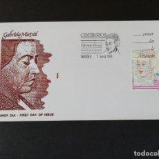 Sellos: SOBRE CON IMAGEN Y SELLO, GABRIELA MISTRAL. PRIMER DE CIRCULACIÓN. AÑO 1989. Lote 168277408