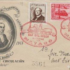 Sellos: 1948 CENTENARIO FERROCARRIL ED 1037/9 -MATASELLOS PRIMER DIA ESPECIAL EN SOBRE SFC . CIRCULADO . Lote 170371040