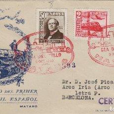 Sellos: 1948 TRENES , CENTENARIO FERROCARRIL ED 1037/9 -MATASELLOS ESPECIAL EN SOBRE DP. CIRCULADO . Lote 170371428