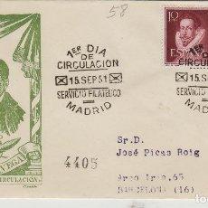 Francobolli: 1951 -LITERATOS LOPE DE VEGA ED 1072 .SOBRE PRIMER DÍA . SFC. CIRCULADO. Lote 170403284