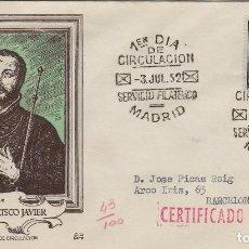 Sellos: 1952 - IV CENTENARIO SAN FRANCISCO JAVIER ED 1118 SOBRE PRIMER DIA DP CIRCULADO. Lote 170435824