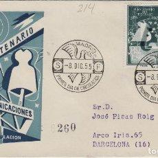 Sellos: 1955 - I CENTENARIO DE TELÉGRAFOS , 1180/1181 - EN SOBRE PRIMER DIA DE SFC . CIRCULADO. Lote 170526916