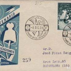 Sellos: 1955 - I CENTENARIO DE TELÉGRAFOS , 1180/1181 - EN SOBRE PRIMER DIA DE SFC . CIRCULADO. Lote 170526932