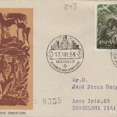 Francobolli: 1956 -XX ANIVERSARIO ALZAMIENTO NACIONAL ED 1187/8 EN SOBRE /SPD PRIMER DIA, SFC CIRCULADO. Lote 170536280