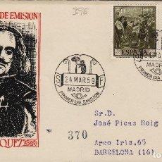 Francobolli: 1959 - VELÁZQUEZ , PINTURA ED 1238 , 1240 EN SOBRE PRIMER DIA DE SFC . CIRCULADO. Lote 170865430