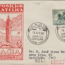 Sellos: 1960 - BARCELONA XI EXPOSICION FILATÉLICA DE GRACIA EN SOBRE DE DP. CIRCULADO. Lote 170876795