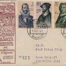 Sellos: 1961 -FORJADORES DE AMÉRICA ED 1374/7 EN SOBRE /SPD PRIMER DIA DE SFC . CIRCULADO. Lote 170967243