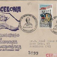 Sellos: 1963 - BARCELONA , CONGRESO DE MEDICINA HOMEOPÁTICA EN SOBRE DE DP CIRCULADO. Lote 170990208