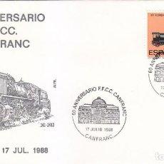 Sellos: TRENES 60 ANIVERSARIO DEL FERROCARRIL, CANFRANC (HUESCA) 1988. RARO MATASELLOS EN SOBRE DE ALFIL.. Lote 171240644