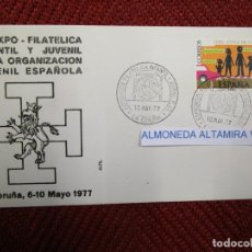 Sellos: IV EXPO FILATELICA OJE ORGANICACION JUVENIL ESPAÑOLA, LACORUÑA 1977, SOBRE + INFO 1S. Lote 171616284