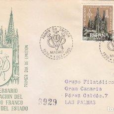 Sellos: GENERAL FRANCO XXV ANIVERSARIO EXALTACION JEFATURA ESTADO 1961 (EDIFIL 1373) SPD CIRCULADO SFC. MPM.. Lote 171680543
