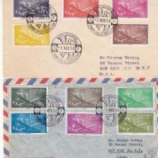 Sellos: AVION SUPER CONSTELLATION Y NAO SANTA MARIA 1955-1956 (EDIFIL 1169/79) DOS RAROS SPD CIRCULADOS. MPM. Lote 172374012