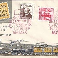 Sellos: EDIFIL 1037-1039 CENTENARIO DEL FERROCARRIL 1948. SOBRE 1ª EXPOSICIÓN FILATÉLICA DE MATARÓ.. Lote 172384602