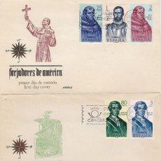 Selos: EDIFIL 1526/33, FORJADORES DE AMERICA 1963 PRIMER DIA 12-10-1963 EN 3 SOBRES DE ARRONIZ. Lote 175604367