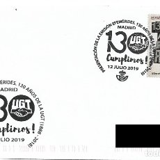 Sellos: ESPAÑA. MATASELLOS ESPECIAL DE PRESENTACION. 130 ANIVERSARIO UGT. 2019. Lote 175985093