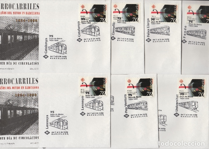 1999 BARCELONA - 75 /LXXV METRO , FERROCARRILES ED 3629 .SOBRE (7)PRIMER DIA MATASELLOS ESPECIALES (Sellos - Historia Postal - Sello Español - Sobres Primer Día y Matasellos Especiales)