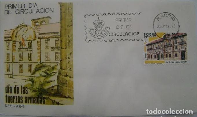SOBRE PRIMER DIA DE LAS FUERZAS ARMADAS MADRID 1985 (Sellos - Historia Postal - Sello Español - Sobres Primer Día y Matasellos Especiales)