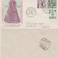 Sellos: AÑO 1963, CONGREGACIONES MARIANAS, 50 ANVERSARIO, MATASELLO DE VALENCIA EN SOBRE DE ALFIL CIRCULADO. Lote 176375372