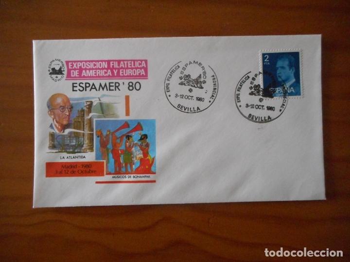 Sellos: Espamer 80 Exp. Filatélica de América y Europa. Sevilla. Matasellos Primer Día Circulación. 1980 - Foto 2 - 176763648
