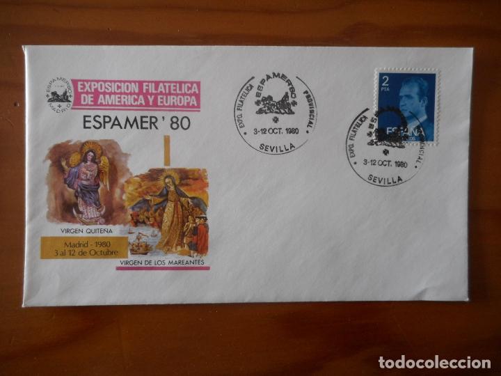 Sellos: Espamer 80 Exp. Filatélica de América y Europa. Sevilla. Matasellos Primer Día Circulación. 1980 - Foto 3 - 176763648