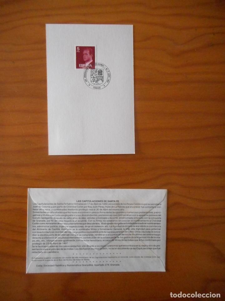 Sellos: 492 Aniversario Capitulaciones de Santa Fe. Granada 82-92. Matasellos primer día circulación 1984 - Foto 2 - 176765440
