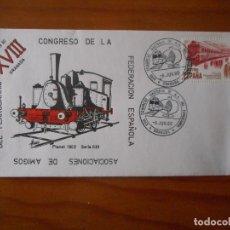 Selos: CONGRESO ASOCIACIÓN AMIGOS DEL FERROCARRIL. GRANADA. SOBRE MATASELLOS PRIMER DÍA CIRCULACIÓN. 1980. Lote 176766282