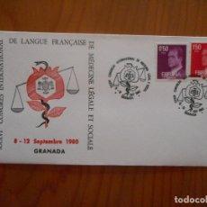 Selos: XXXVI CONGR'ES INTERNATIONAL LANGUE FRANÇAISE. GRANADA. SOBRE MATASELLOS PRIMER DÍA CIRCULACIÓN.1980. Lote 176854379