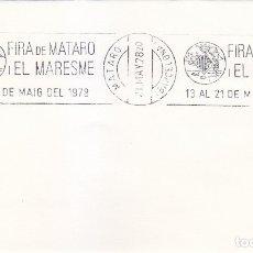 Sellos: FIRA DE MATARO I EL MARESME, MATARO (BARCELONA) 1978. MATASELLOS DE RODILLO EN SOBRE.. Lote 176862050