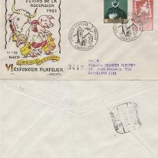 Sellos: AÑO 1961, GRANOLLERS, FERIAS DE LA ASCENSION, SOBRE DE ALFIL CIRCULADO. Lote 176926064