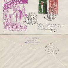 Sellos: AÑO 1961, GRANOLLERS, FERIAS DE LA ASCENSION, SOBRE DE PANFILATELICAS CIRCULADO. Lote 176926117