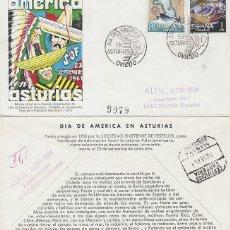 Sellos: AÑO 1961, DIA DE AMERICA EN OVIEDO, EN SOBRE OFICIAL DE LA EXPOSICION CIRCULADO. Lote 176927299