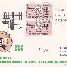Sellos: TELECOMUNICACIONES CENTENARIO UNION INTERNACIONAL 1965 (EDIFIL 1670 DOS SELLOS SPD CIRCULADO ARRONIZ. Lote 177144264