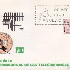 Sellos: TELECOMUNICACIONES CENTENARIO UNION INTERNACIONAL 1965 (EDIFIL 1670) SOBRE PRIMER DIA ARRONIZ. MPM. . Lote 177171735