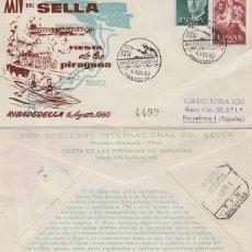 Sellos: AÑO 1960, RIBADESELLA (ASTURIAS) DESCENSO INTERNACIONAL DEL SELLA, SOBRE DE ALFIL CIRCULADO. Lote 236101990