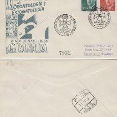 Sellos: AÑO 1960, ODONTOLOGIA Y ESTOMATOLOGIA, CONGRESO NACIONAL EN GRANADA, SOBRE PANFILATELICAS CIRCULADO. Lote 235960825