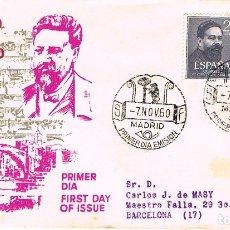 Sellos: EDIFIL 1320/1, CENTENARIO DE ISAAC ALBENIZ, PRIMER DIA DE 7-11-1960, SOBRE DE ALFIL. Lote 177405158