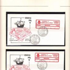 Sellos: EPELSA 4 SOBRES CON ETIQUETAS Y MATASELLOS DE EXPOFIL V EN PUERTO DE LA CRUZ 1986. Lote 177615134