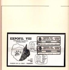 Sellos: EPELSA SOBRE CON ETIQUETAS Y MATASELLOS DE EXPOFIL VIII EN PUERTO DE LA CRUZ 1989. Lote 177615208