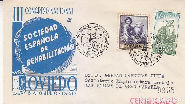 MEDICINA REHABILITACION III CONGRESO, OVIEDO (ASTURIAS) 1960. MATASELLOS EN SOBRE CIRCULADO DP. MPM. (Sellos - Historia Postal - Sello Español - Sobres Primer Día y Matasellos Especiales)