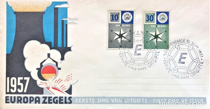 SOBRE PRIMER DIA PAISES BAJOS, EUROPA 1957, FIRST DAY COVER (Sellos - Historia Postal - Sello Español - Sobres Primer Día y Matasellos Especiales)