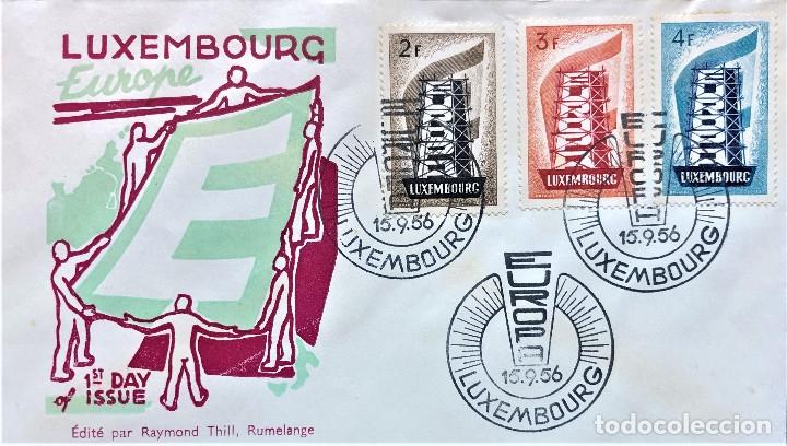 SOBRE PRIMER DIA DE LUXEMBURGO 1956, TEMA EUROPA,EL DE LA FOTO,FIRST DAY COVER (Sellos - Historia Postal - Sello Español - Sobres Primer Día y Matasellos Especiales)