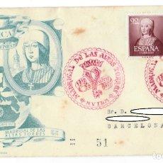 Sellos: SOBRE (MADRIGAL DE LAS ALTAS TORRES, 1951), ALFIL: V CENTENARIO NACIMIENTO ISABEL LA CATÓLICA - MATA. Lote 177766447