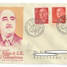 Sellos: SOBRE SPD (MADRID 1955), ALFIL: EFIGIE DE S.E. EL GENERALISIMO EMISIÓN 1955 - PRIMER DÍA DE EMISIÓN. Lote 178077044