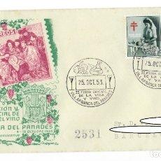 Sellos: SOBRE (VILLAFRANCA DEL PANADES 1953), ALFIL: II EXPOSICIÓN Y FERIA OFICIAL DE LA VIÑA Y EL VINO. Lote 178095635